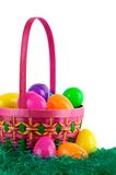 Easter basket with colored eggs Royalty Free Stock Photo
