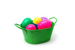 Easter basket with colored eggs Royalty Free Stock Photos