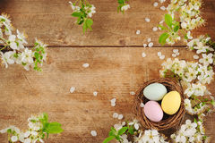Easter. Basket with colored eggs Stock Image