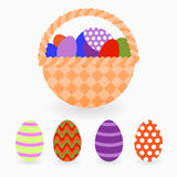 Easter basket with colored eggs. Design elements. Stock Images