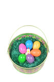 Easter basket with colored eggs and hen Royalty Free Stock Photo