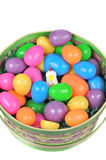 Easter basket with colored eggs and hen Royalty Free Stock Images