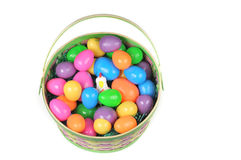 Easter basket with colored eggs and hen Stock Photo