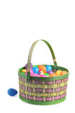 Easter basket with colored eggs and hen Stock Images
