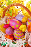 Easter basket with colorful eggs Stock Photography