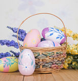 Easter Basket and Colorful Eggs Stock Photography