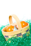 Easter basket wih colorful eggs. An Easter basket with colorful eggs sitting on fake green grass Royalty Free Stock Photos