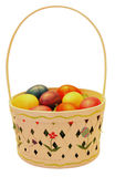 Easter basket with colorful plastic eggs Stock Photography