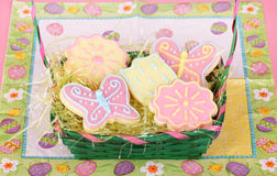 Easter Basket With Cookies Royalty Free Stock Photo
