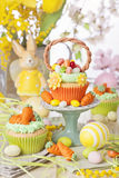 Easter basket cupcake. On a stand Stock Images