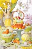 Easter basket cupcake stock images