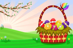Easter basket with decorated eggs Stock Photo