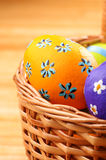 Easter basket with decorated  eggs Royalty Free Stock Images