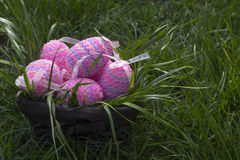 Easter basket. Decoration for Easter in green grass Royalty Free Stock Images