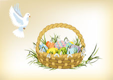 Easter basket with dove Stock Image