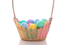 Easter Basket with Dyed Eggs Stock Image