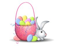Easter Basket and Easter Bunny Stock Images