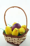 Easter basket with Easter egg and chicks Stock Photography