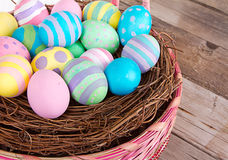 Easter Basket with Easter eggs Royalty Free Stock Photography