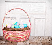 Easter Basket with Easter eggs Royalty Free Stock Images