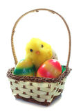 Easter basket with Easter eggs and chicks Royalty Free Stock Photo