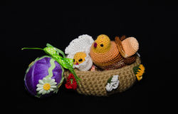 Easter basket with Easter eggs on spring Royalty Free Stock Images