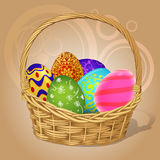 Easter basket with Easter eggs Stock Images