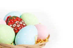 Easter basket with easter eggs Royalty Free Stock Image