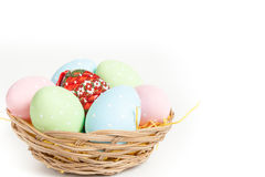 Easter basket with easter eggs Stock Photo