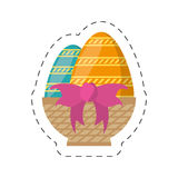 Easter basket egg bow decoration-cut line Royalty Free Stock Photos