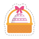 Easter basket with egg and bow Stock Photo
