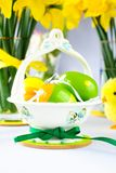 Easter basket with eggs Royalty Free Stock Photography