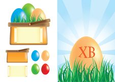 Easter basket with eggs Stock Photo