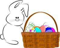 Easter basket of eggs Stock Photography