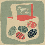 Easter basket with eggs. stock photos