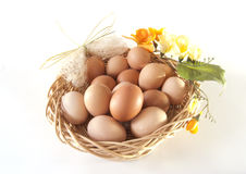 Easter basket with eggs. And a bow Stock Photo