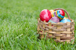 Easter basket with eggs Royalty Free Stock Photo