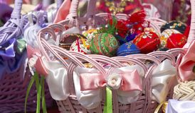 Easter basket with eggs. Easter of basket with eggs Stock Photo