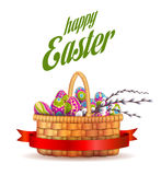 Easter basket with eggs Stock Image