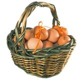 Easter basket with eggs Royalty Free Stock Images