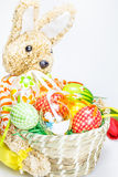 Easter basket with eggs and  bunny Stock Photo