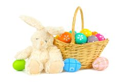Easter basket with eggs and bunny Royalty Free Stock Image