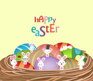 Easter with basket of eggs and bunny funny Stock Images