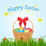 Easter basket with eggs, a card of happy Easter Stock Photo