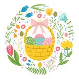 Easter basket with eggs and chickens.  Stock Photo