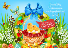 Easter basket with eggs and chickens greeting card Stock Photography