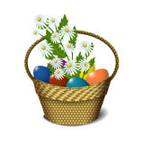 Easter basket with eggs and daisies Royalty Free Stock Images