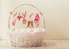 Easter basket with eggs and Easter decor. stock images