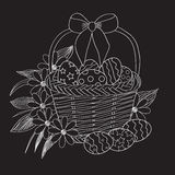 Easter basket with eggs and flowers. Easter background with a basket, eggs, flowers and a bow Stock Images