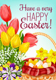 Easter basket with eggs and flowers greeting card Royalty Free Stock Photo